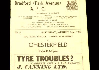 Bradford PA v Chesterfield 31.08.1963