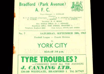 Bradford PA v York 28.09.1963