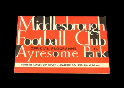 Bradford PA v Middlesbrough 02.10.1963 - League Cup 2nd Round Replay