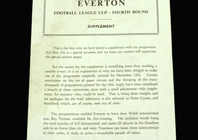 Tranmere v Everton 21.12.1960 League Cup 4th Round