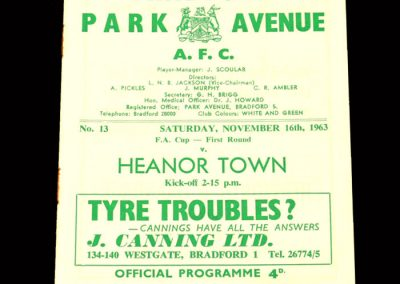 Bradford PA v Heanor Town 16.11.1963 - FA Cup 1st Round