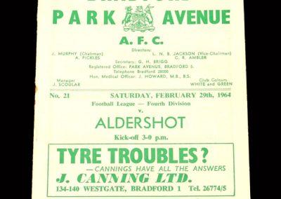 Bradford PA v Aldershot 29.02.1964