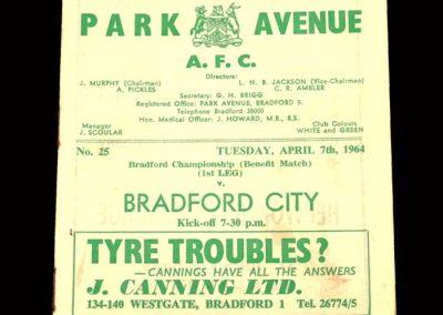 Bradford PA v Bradford City 07.04.1964 - Bradford Championship Benefit Match