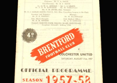 Brentford v Colchester 31.08.1957