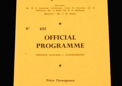 Berwick v Cowdenbeath 07.09.1957