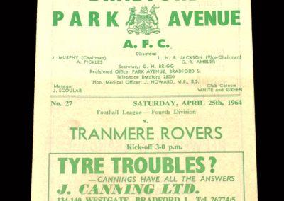 Bradford PA v Tranmere 25.04.1964