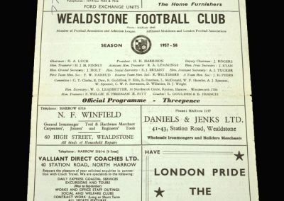Wealdstone v Uxbridge 16.11.1957