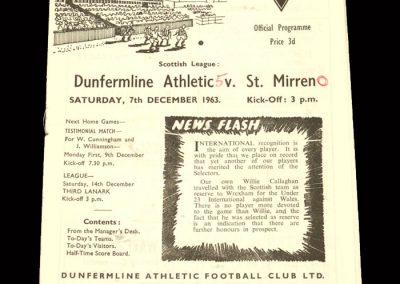 St Mirren v Dunfermline 07.12.1963