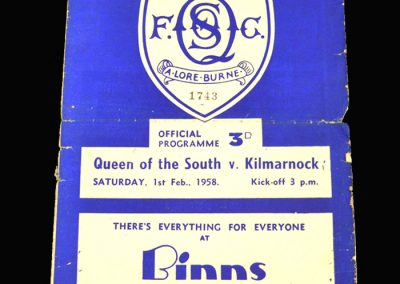 Queen of the South v Kilmarnock 01.02.1958