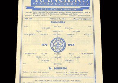 St Mirren v Rangers 08.02.1964