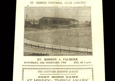 St Mirren v Falkirk 15.02.1964 - Scottish Cup 3rd Round