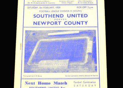 Southend v Newport 08.02.1958