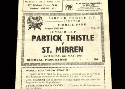 St Mirren v Partick Thistle 02.05.1964 - Summer Cup