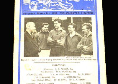 Millwall v Colchester 08.03.1958