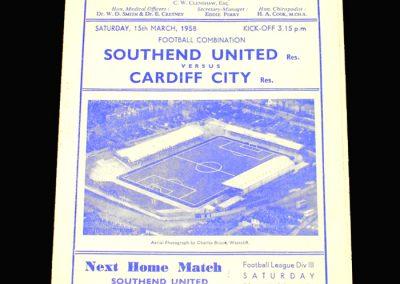 Southend Reserves v Cardiff Reserves 15.03.1958