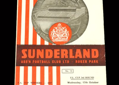 Sunderland v Scunthorpe 17.10.1962 - League Cup 3rd Round