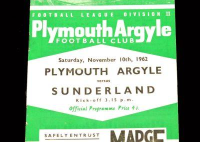 Sunderland v Plymouth 10.11.1962