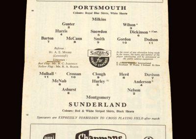 Sunderland v Portsmouth 24.11.1962