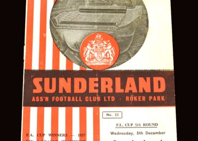 Sunderland v Blackburn 05.12.1962 - League Cup 5th Round