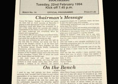 Wycombe v Rochdale 22.02.1994 (postponed)