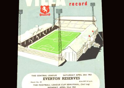 Sunderland v Aston Villa 22.04.1963 - League Cup Semi Final 2nd Leg | Aston Villa Reserves v Everton Reserves 20.04.1963