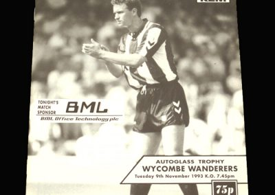 Wycombe v Brentford 09.11.1993 - FA Trophy South Round 1 Group 7