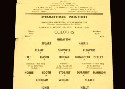 Whites v Colours 08.08.1959 - Practice Match - Billy Wrights last game