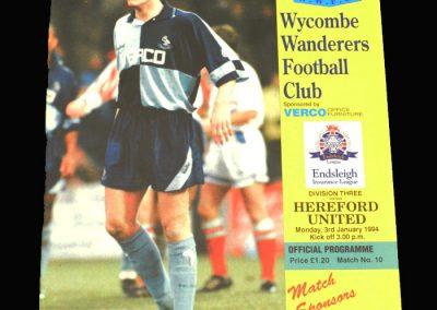 Wycombe v Hereford 03.01.1994