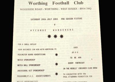 Wycombe v Worthing 24.07.1993 (Friendly)