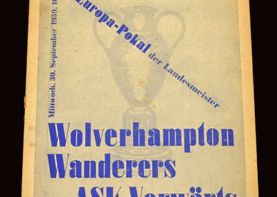 Wolves v Vorwarts (Berlin) 30.09.1959 - European Cup Qualifying Round 1st Leg