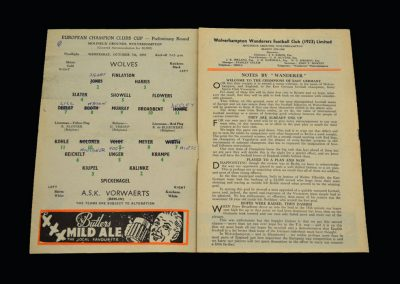 Wolves v Vorwarts (Berlin) 07.10.1959 - European Cup Qualifying Round 2nd Leg