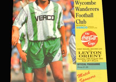 Wycombe v Leyton Orient 24.08.1993 - FA League Cup 1st Round 2nd Leg