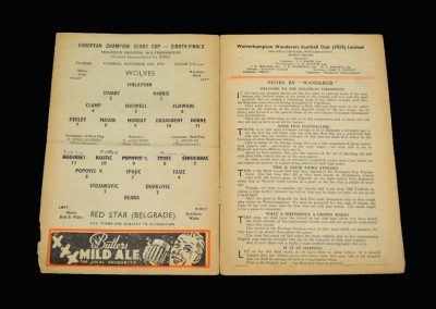 Wolves v Red Star Belgrade 24.11.1959 - European Cup 1st Round 2nd Leg