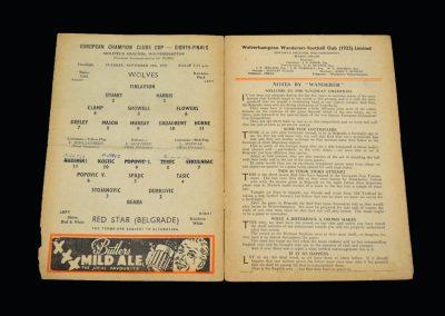 Wolves v Red Star Belgrade 24.11.1959 - European Cup 1st Round 2nd Leg