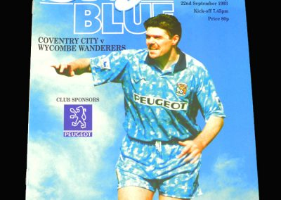 Wycombe v Coventry 22.09.1993 - FA League Cup 2nd Round 1st Leg