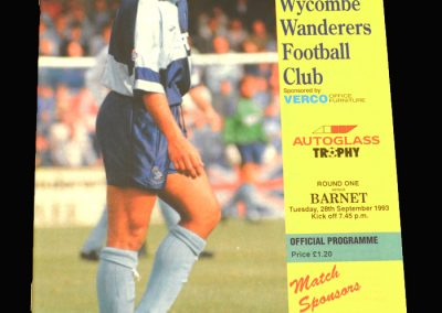 Wycombe v Barnet 28.09.1993 - FA Trophy South Round 1 Group 7