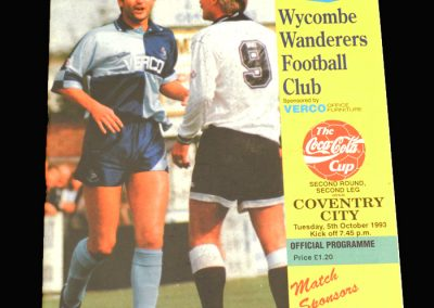 Wycombe v Coventry 05.10.1993 - FA League Cup 2nd Round 2nd Leg