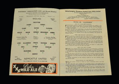 Wolves v Newcastle 13.01.1960 - FA Cup 3rd Round Replay