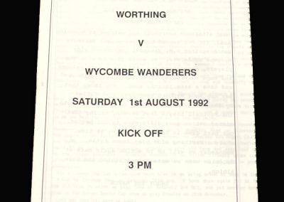 Wycombe v Worthing 01.08.1992 (Friendly)