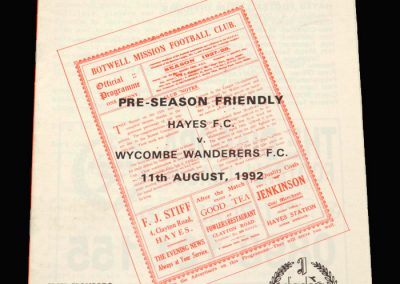 Wycombe v Hayes 11.08.1992 (Friendly)