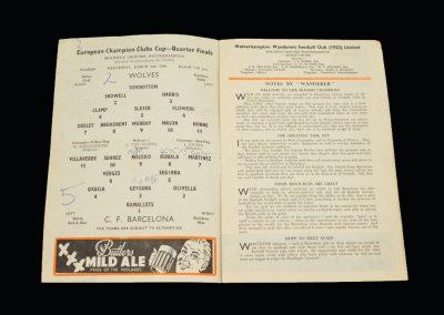 Wolves v Barcelona 02.03.1960 - European Cup Quarter Final 2nd Leg