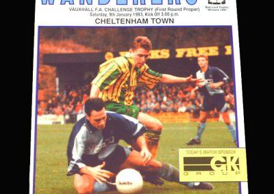 Wycombe v Cheltenham 09.01.1993 - FA Trophy 1st Round