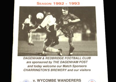 Wycombe v Dagenham & Redbridge 09.03.1993 - James C Thompson Shield Semi Final 2nd Leg
