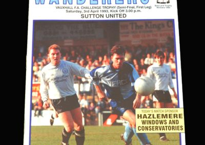Wycombe v Sutton 03.04.1993 - FA Trophy Semi Final 1st Leg