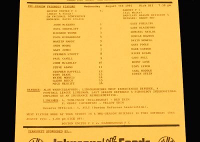 Barnet v Boston 07.08.1991 (Friendly)
