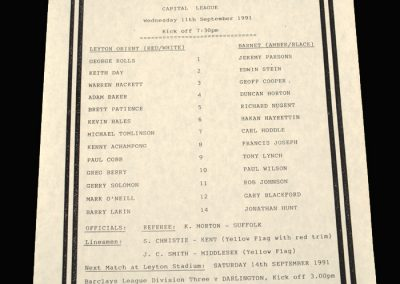 Barnet Reserves v Leyton Orient Reserves 11.09.1991