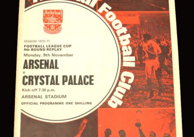 Arsenal v Crystal Palace 09.11.1970 - League Cup 4th Round Replay