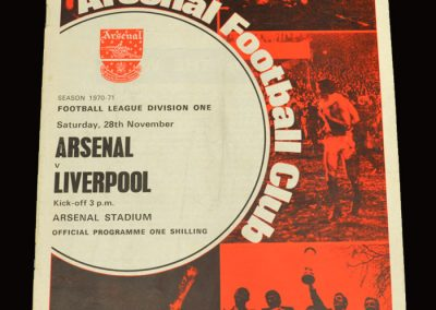 Arsenal v Liverpool 28.11.1970