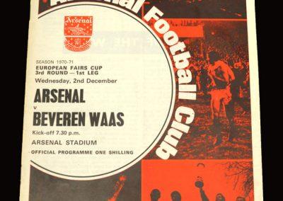 Arsenal v SK Beveren 02.12.1970 - European Fairs Cup 3rd Round 1st Leg