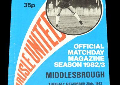 Middlesbrough v Carlisle 28.12.1982